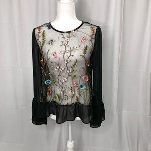 TIMING sheer embroidered blouse